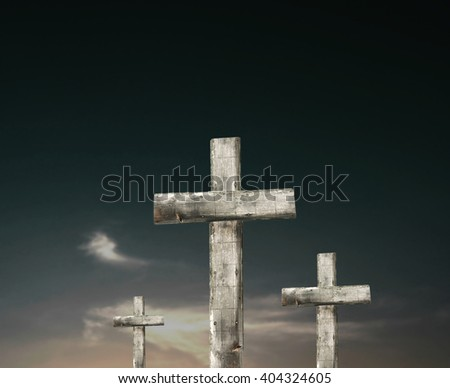 3 crosses at sunset