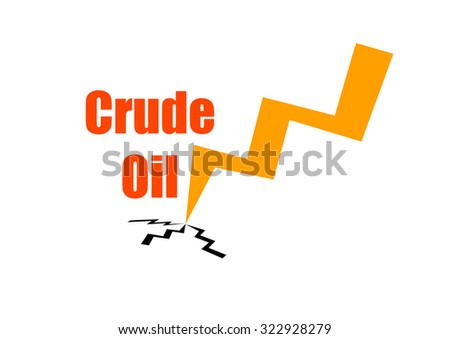 """""""Crude oil""""  text and an arrow going down isolated on white background - stock photo"""