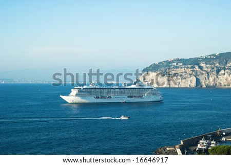 cruise ship in Sorrento water area - stock photo