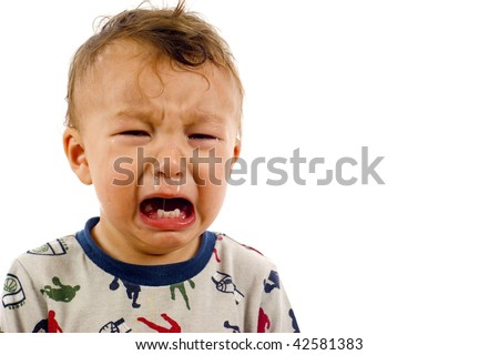 Crying Baby Boy a lot of Copyspace - Isolated over a white background