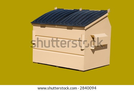 4 cubic yard trash bin isolated on a green brown color - stock photo