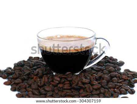 cup of coffee.Isolated on white background - stock photo