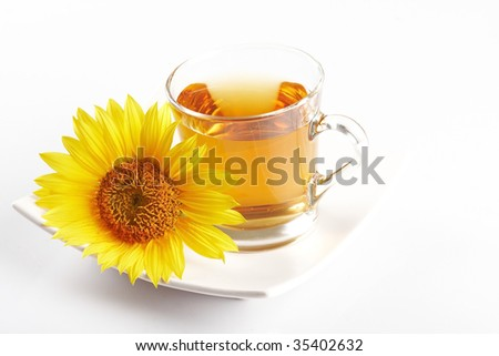 cup of  flower tea - stock photo