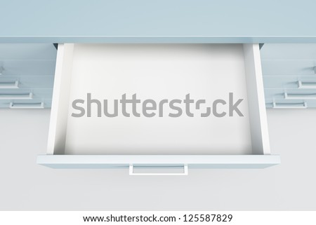 cupboard with opened empty drawer - stock photo