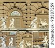 cupids collage - figures from monumental fountain in Florence, Boboli Gardens, Italy, Europe - stock photo
