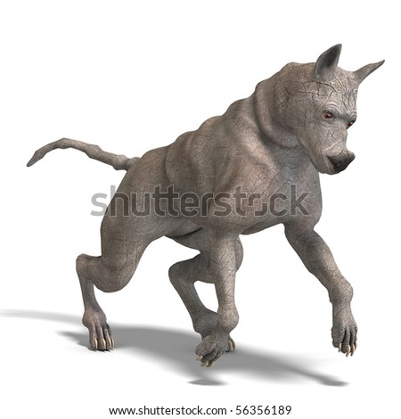 curious alien dog with rhino skin and horn. 3D rendering with clipping path and shadow over white