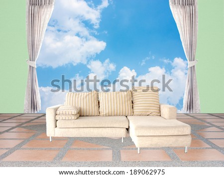curtain open to blue sky and green wallpaper - stock photo
