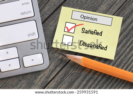 customer opinion survey, showing satisfaction - stock photo