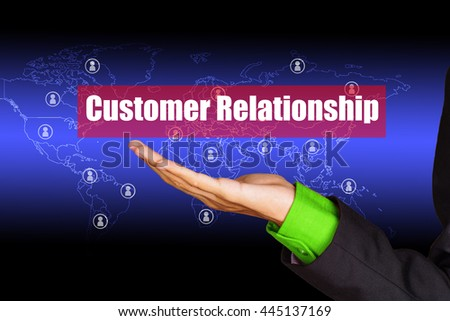 """Customer relationship"" text on virtual screen above talented business man hand with background - service and network concept - stock photo"