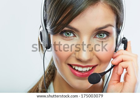 Customer support operator. Woman face.Call center smiling operator with phone headset.
