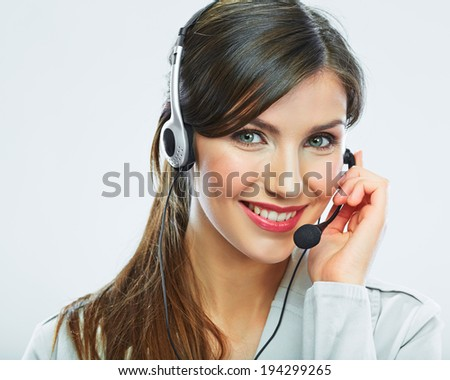 Customer support operator. Woman face.Call center smiling operator with phone headset. - stock photo