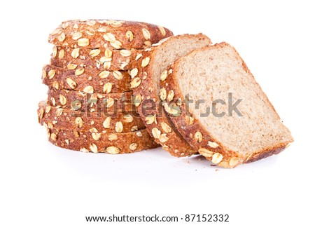 cut loaf of bread with reflection isolated on white - stock photo