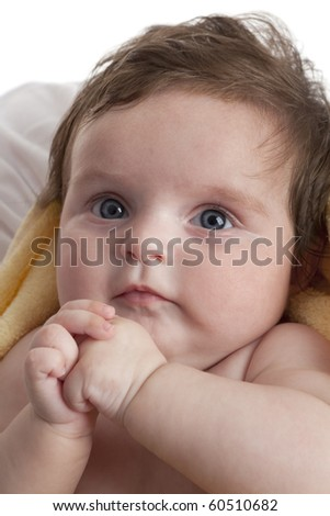 Cute little baby girl on white background