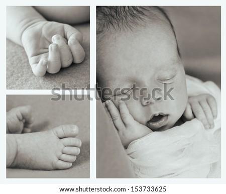 cute newborn baby boy sleeping (collage) - stock photo