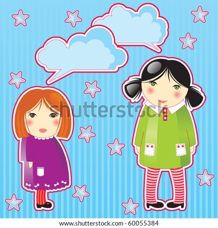 2 cute small girls - stock photo