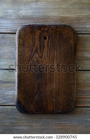 cutting board with space for text, top view - stock photo