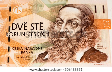 200 Czech crowns bank note. Crown is the national currency of Czech Republic - stock photo