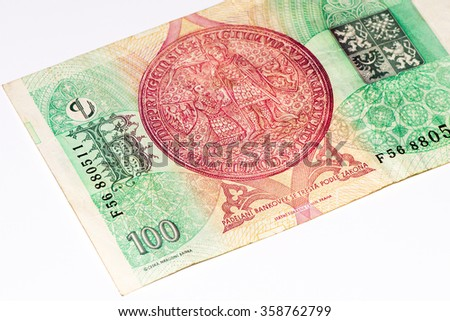 100 Czech crowns bank note. Crown is the national currency of Czech Republic