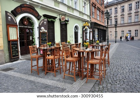 CZECH PRAGUE MARCH 7: Steet cafe in the old town on March 7 2015 in Prague,Czech Republic. - stock photo