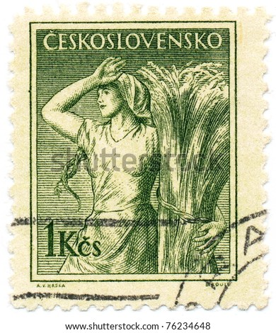 CZECHOSLOVAKIA - CIRCA 1954: A stamp printed in Czechoslovakia, shows farmer's wife, circa 1954