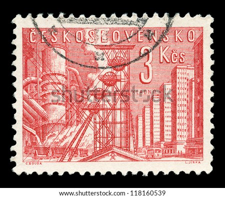 CZECHOSLOVAKIA - CIRCA 1966: A stamp printed in Czechoslovakia shows image of the industrial town of Kladno, series, circa 1966 - stock photo