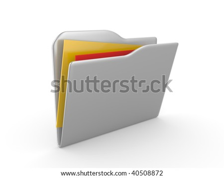 3D a folder for documents on a white background