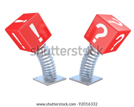 3d a question sign on a spring. A sudden problem - stock photo