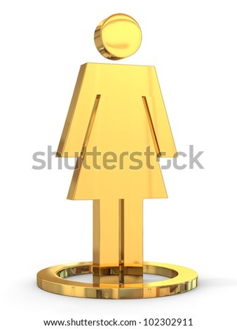 3D a woman icon isolated on white background. - stock photo