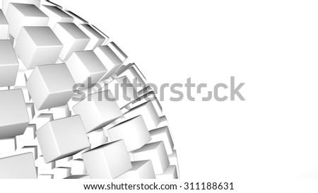 3D abstract advanced technology background. Fragmented sphere formed by glossy cubes with room for your info - stock photo