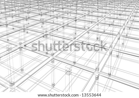 3D abstract - architectural infinite surface - stock photo