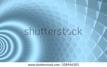 3d abstract architecture background. Blue tunnel with pyramidal surface and light rings - stock photo