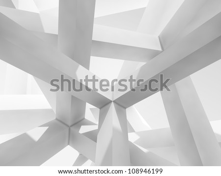 3d abstract Architecture background. Internal space of a modern chaotic braced construction - stock photo