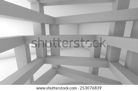3d Abstract architecture background. Internal space of white chaotic braced construction - stock photo