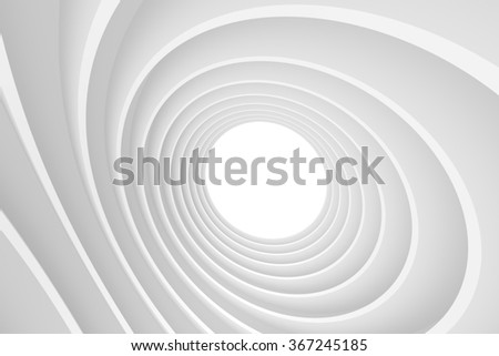3d Abstract Architecture Background. White Circular Building - stock photo