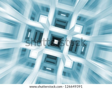 3d abstract architecture blue background. Fast flight with motion blur through modern braced construction - stock photo