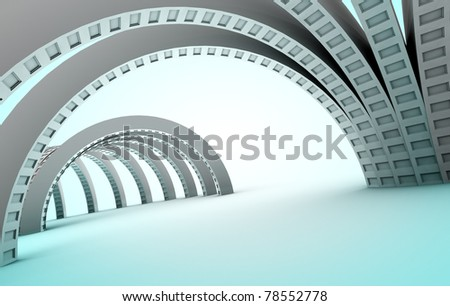 3d abstract architecture in blue toned