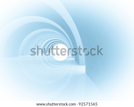 3d Abstract Architecture Tunnel Background - stock photo