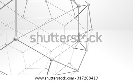 3d abstract atomic structure shapes and particles, plexus style over white background - stock photo
