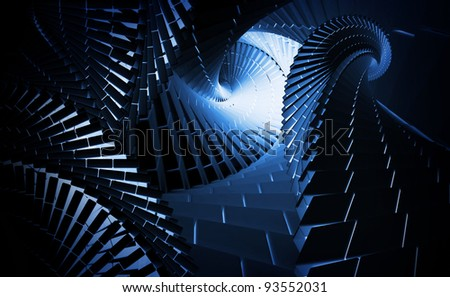 3d abstract background illustration with dark blue helix tunnels