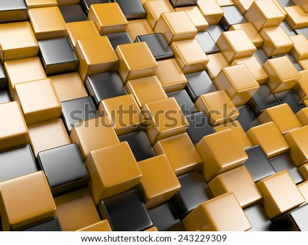 3d abstract background of cubes orange and black. blocks structure construction - stock photo