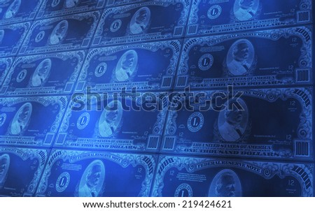 3D abstract background of 1000 dollars bills stacked