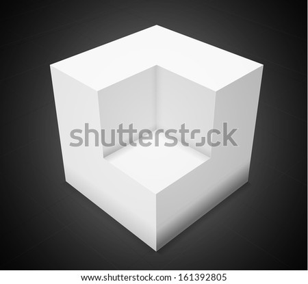 3d abstract background,white cube on black background with grid - stock photo