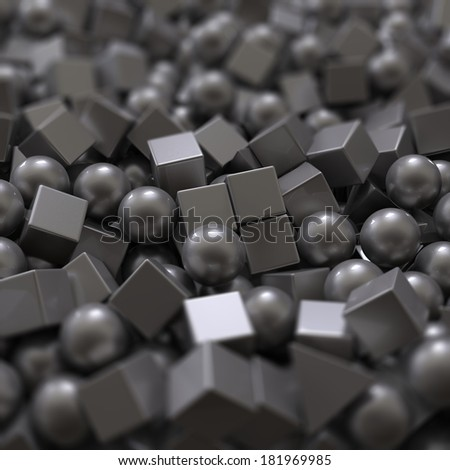 3d abstract balls and cubes background, mixed objects pile - stock photo