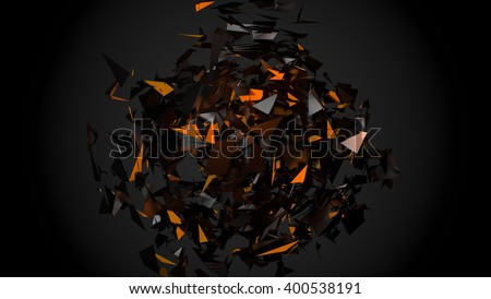 3D abstract black shape with shining orange peices on the dark background.