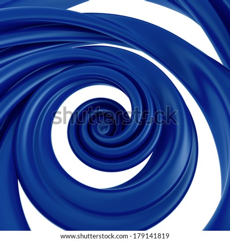 3d abstract blue spiral twisted splashing isolated on white background - stock photo