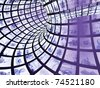 3d abstract blue tunnel - stock photo