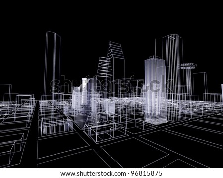 3D abstract city. Concept - modern architecture and designing. - stock photo