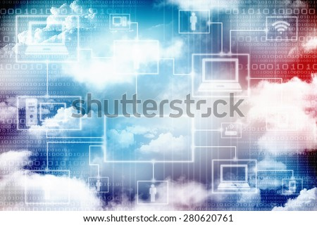 2d abstract computer networking concept - stock photo