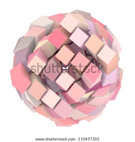 3d abstract cube ball shape in pink on white - stock photo