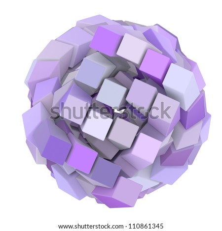 3d abstract cube ball shape in purple magenta on white - stock photo